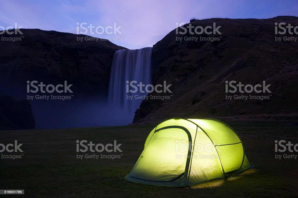 Camping at Skogafoss stock photo