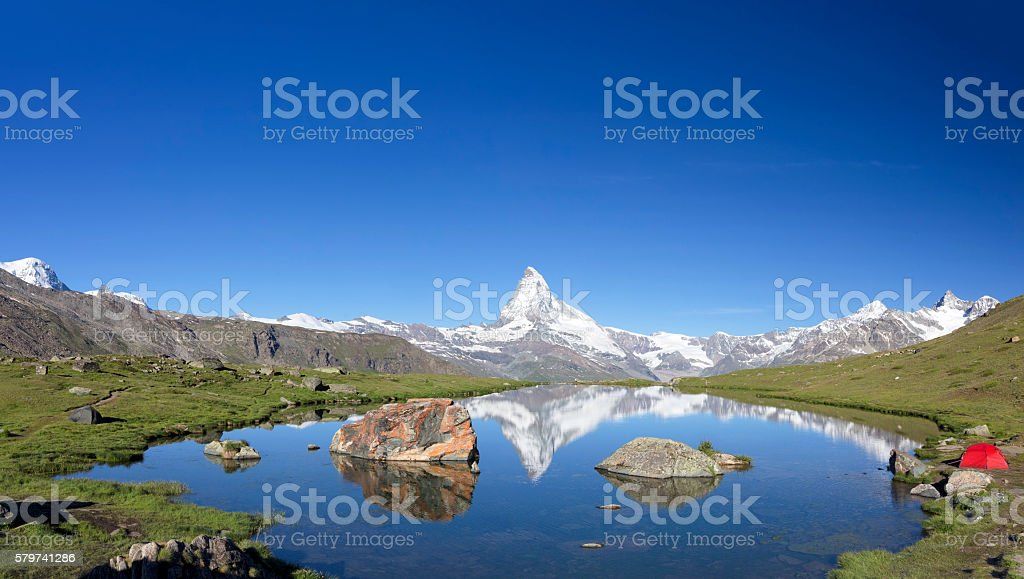 Camping at sunny day with view to Matterhorn stock photo