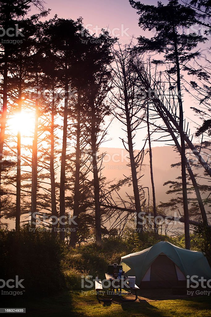 Camping at Sunset in Pacific Northwest royalty-free stock photo