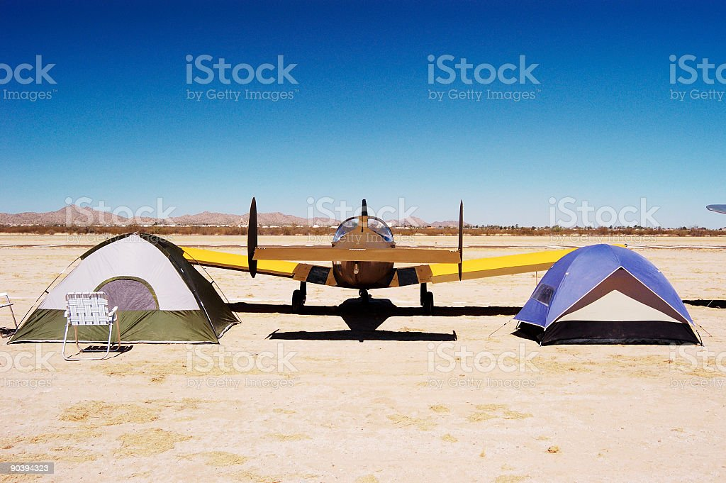 Camping at the airport 3 stock photo