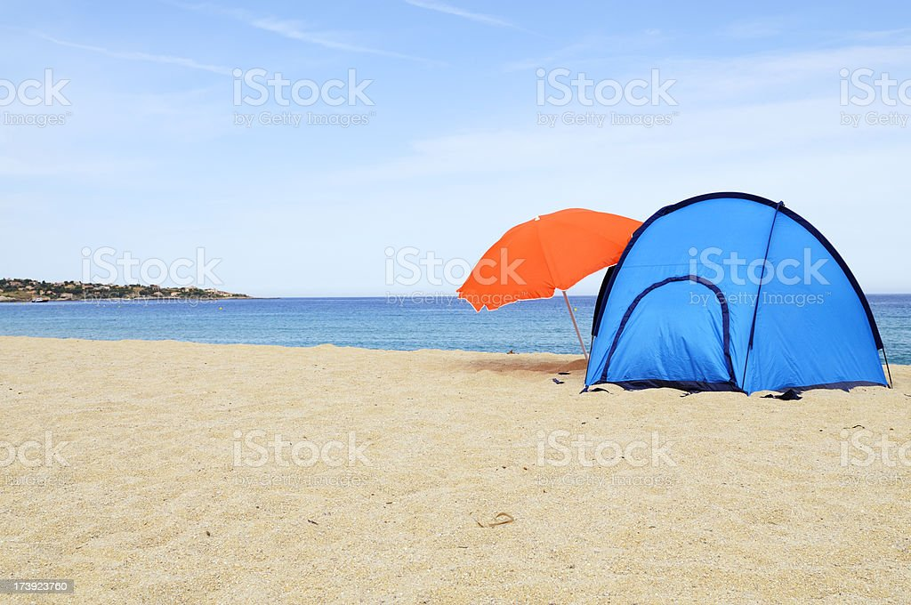 Camping at the beach. Copy Space royalty-free stock photo