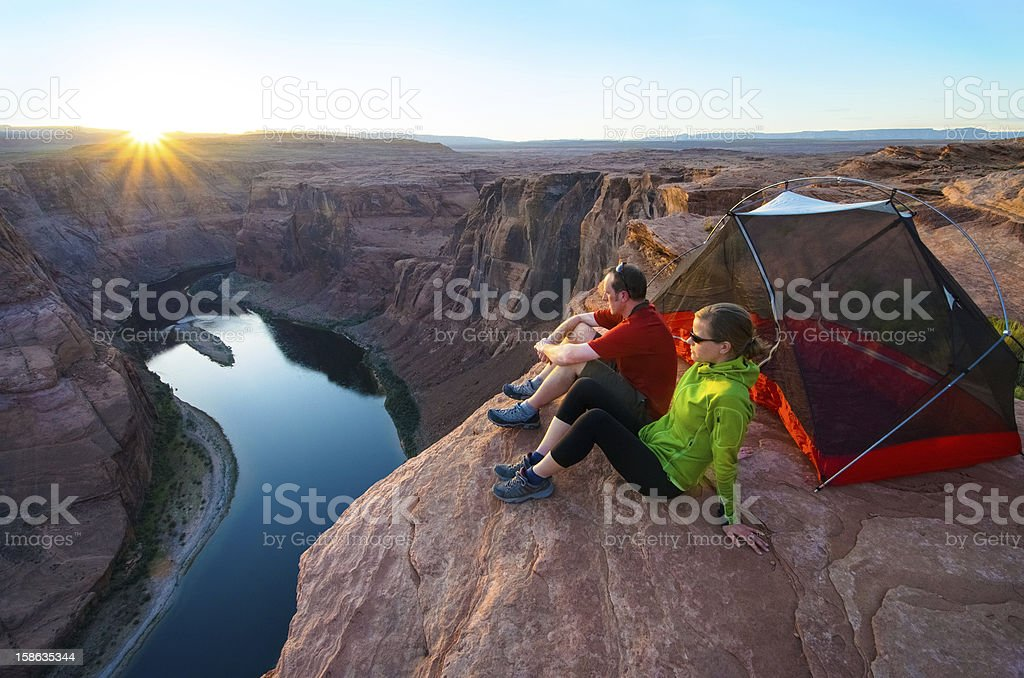 Camping at the edge stock photo