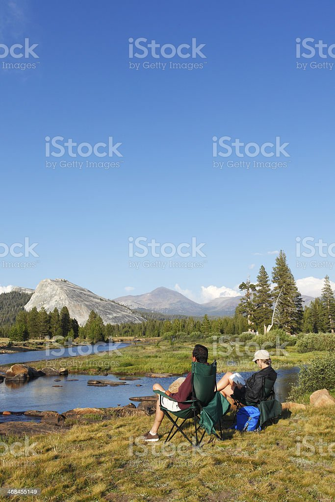 Camping at Tuolumne Meadow stock photo