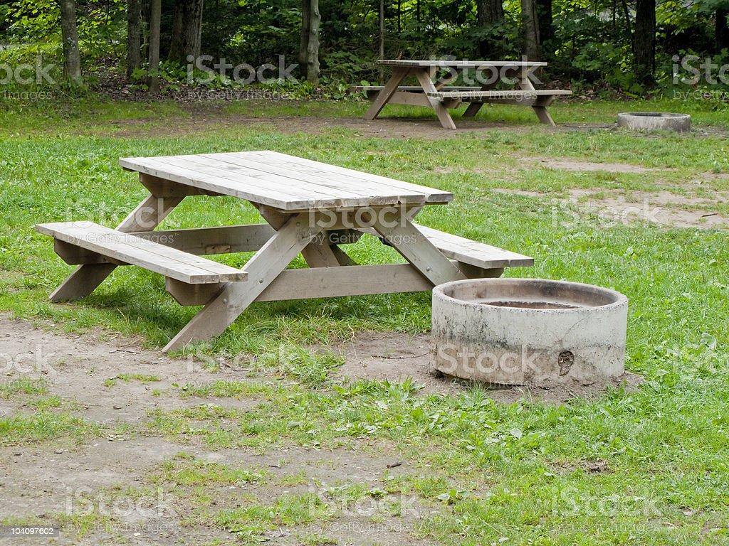 camping benchs royalty-free stock photo