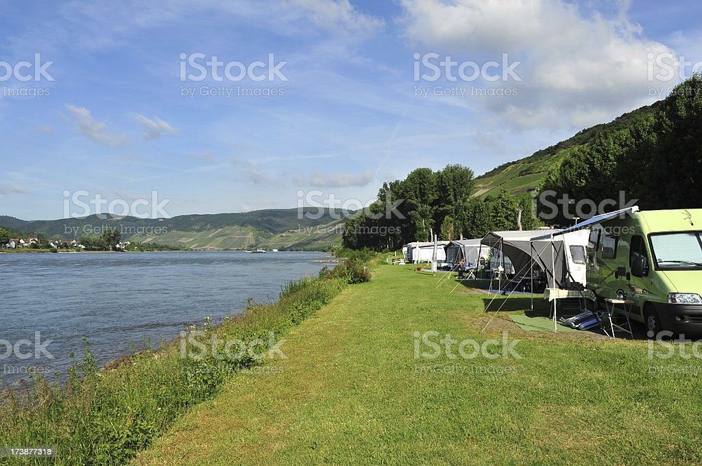 Camping beside the river Rhine at Boppard in Germany stock photo