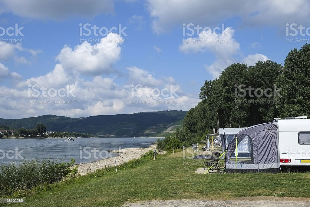 Camping beside the River Rhine in Germany stock photo
