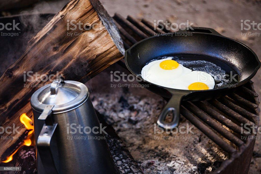 Camping Breakfast stock photo