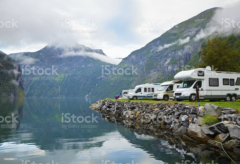 Camping by fjord stock photo