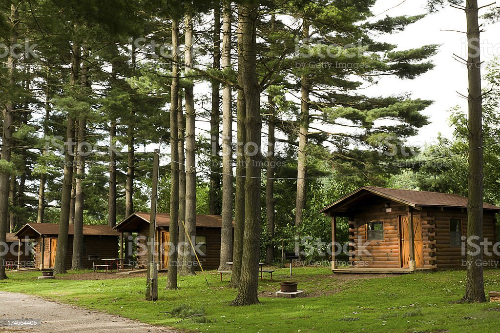 Camping Cabins in the Pines stock photo