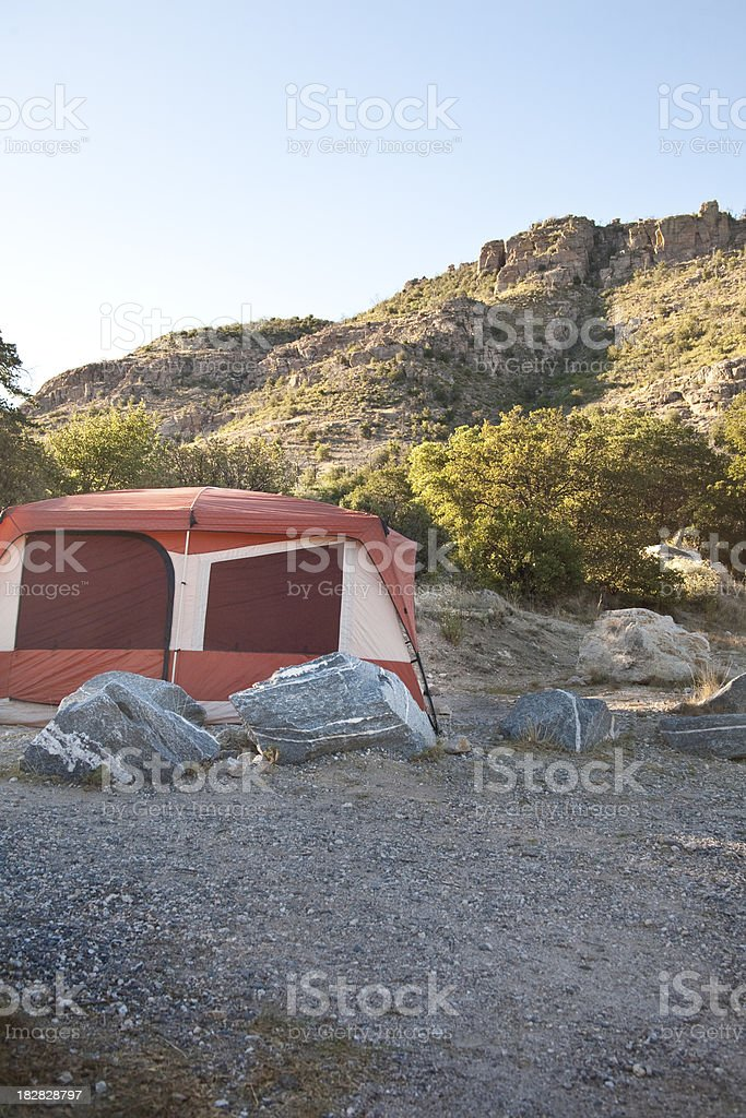 Camping: Campsite at Sunrise stock photo