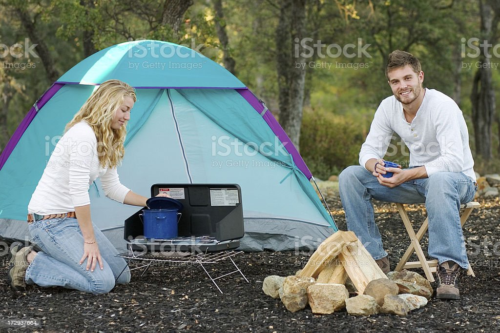 Camping Cookout royalty-free stock photo