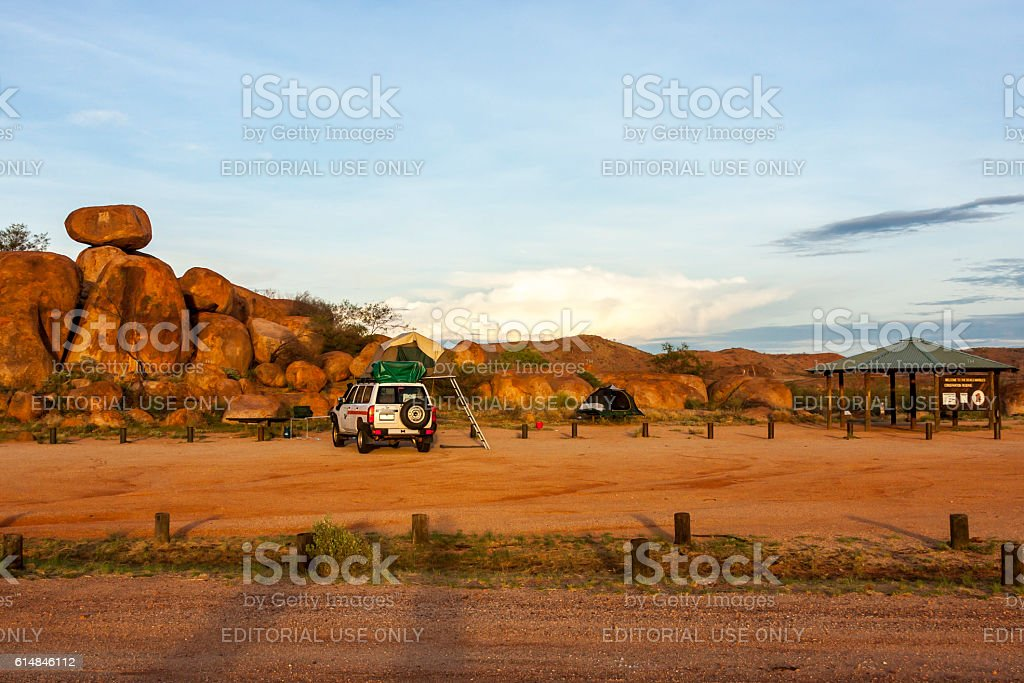 Camping. Devils Marbles, Australia stock photo