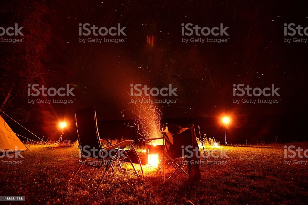 Camping Firepit Stars in Sky Late Night stock photo