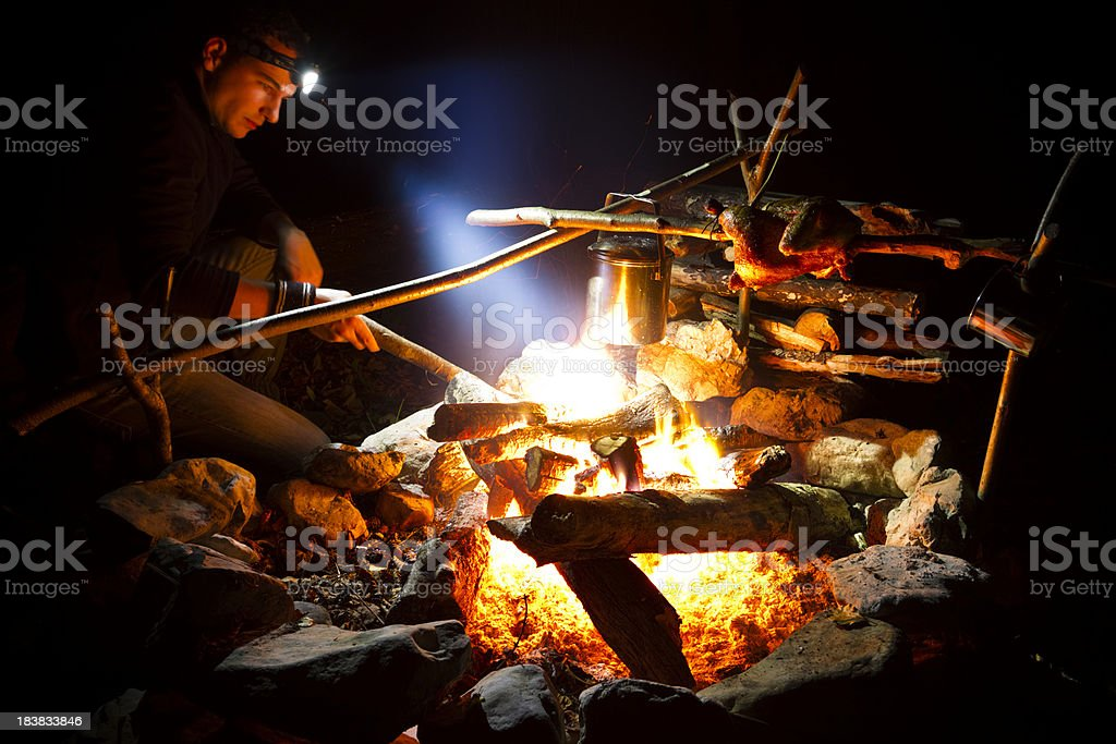 camping fireplace royalty-free stock photo