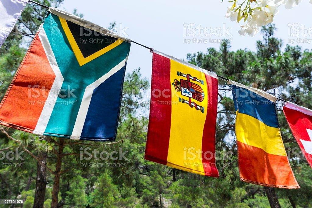 Camping flags stock photo