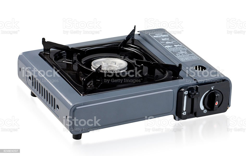 Camping gas stove isolated on white stock photo