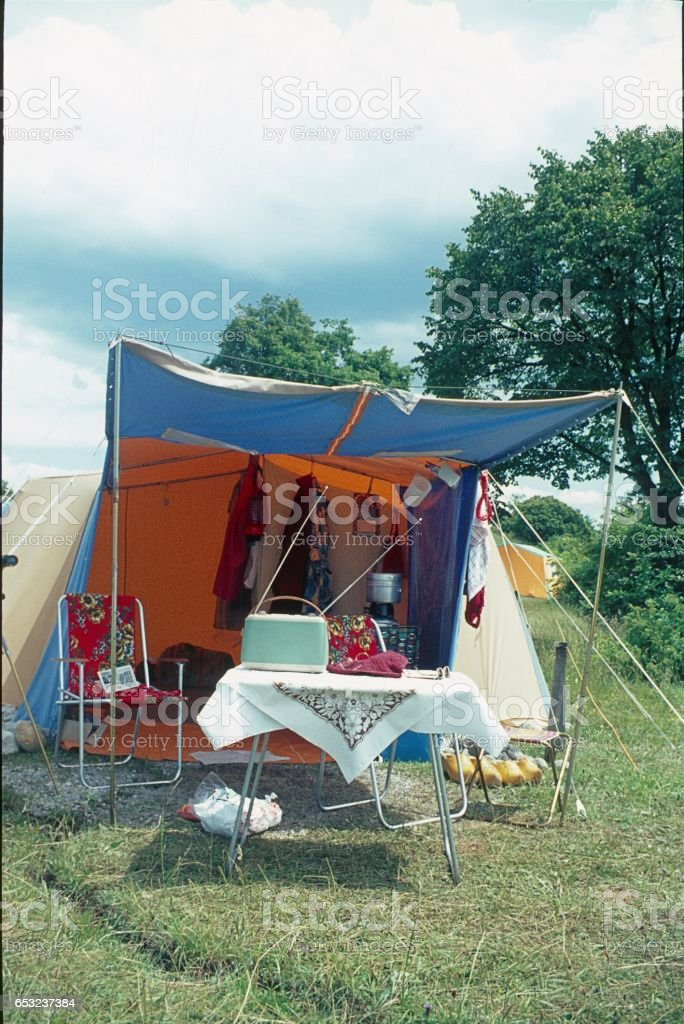 Camping holiday stock photo