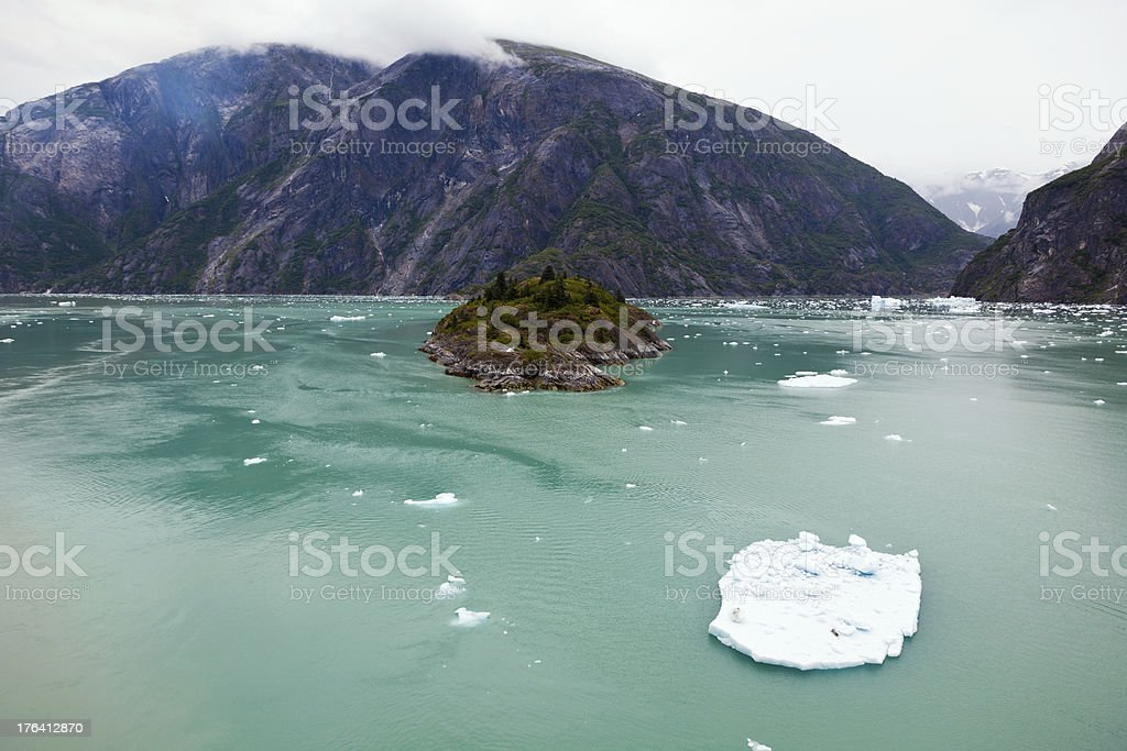 Camping in a Misty Fjord stock photo