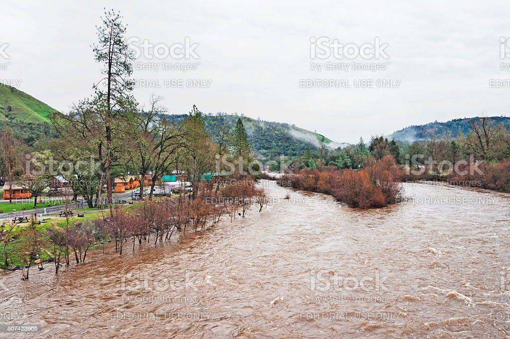 Camping in Coloma with High Water following Storm stock photo