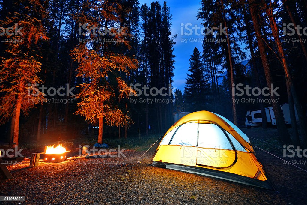Camping in forest stock photo