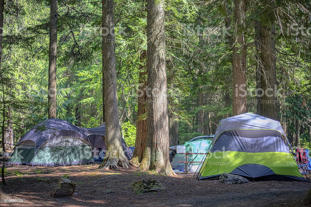 Camping in Glacier National Park stock photo