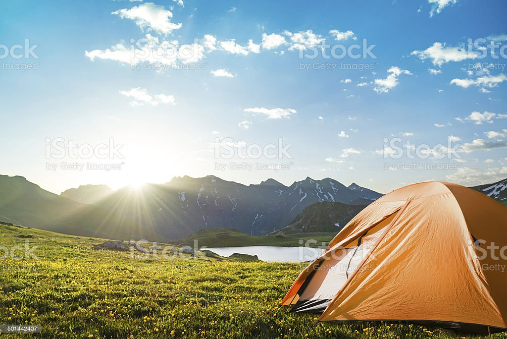 camping in mountains stock photo