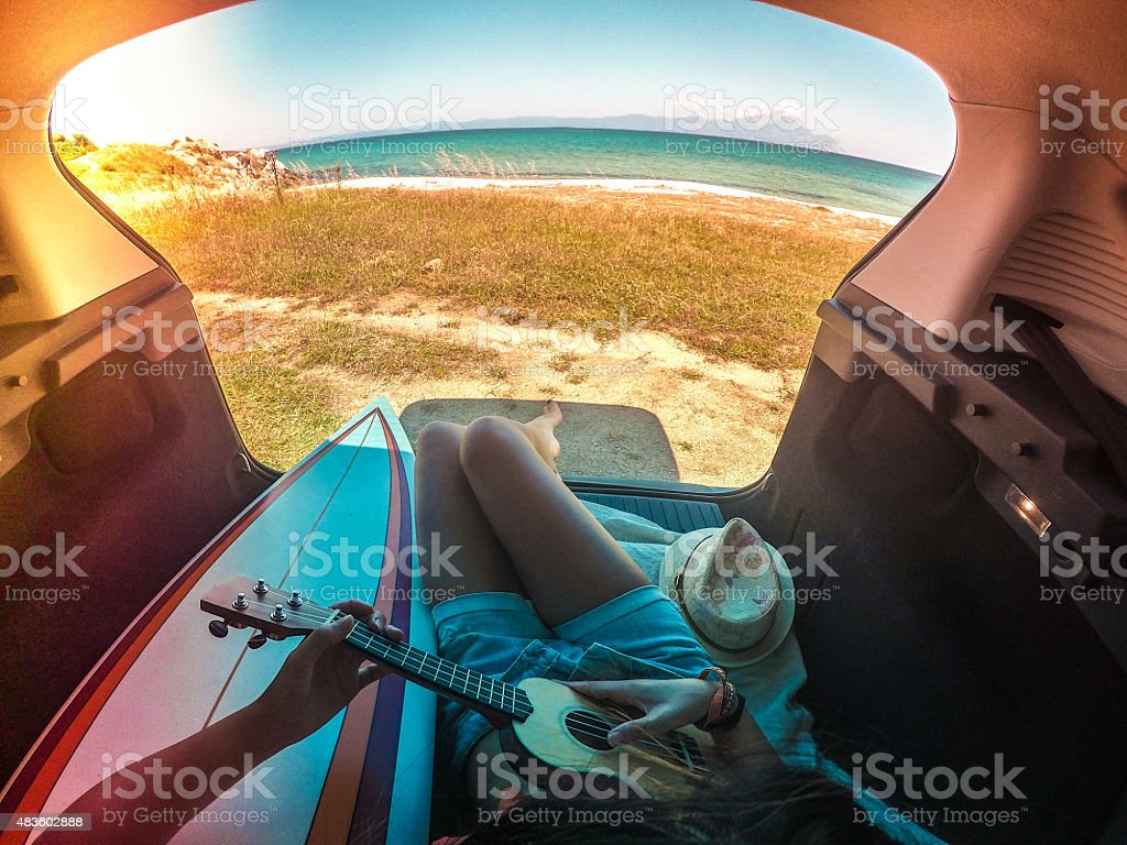 Camping in my van stock photo