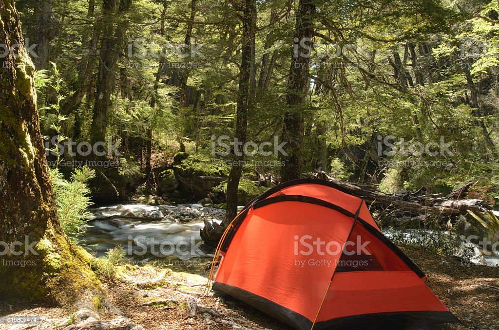Camping in Patagonia stock photo
