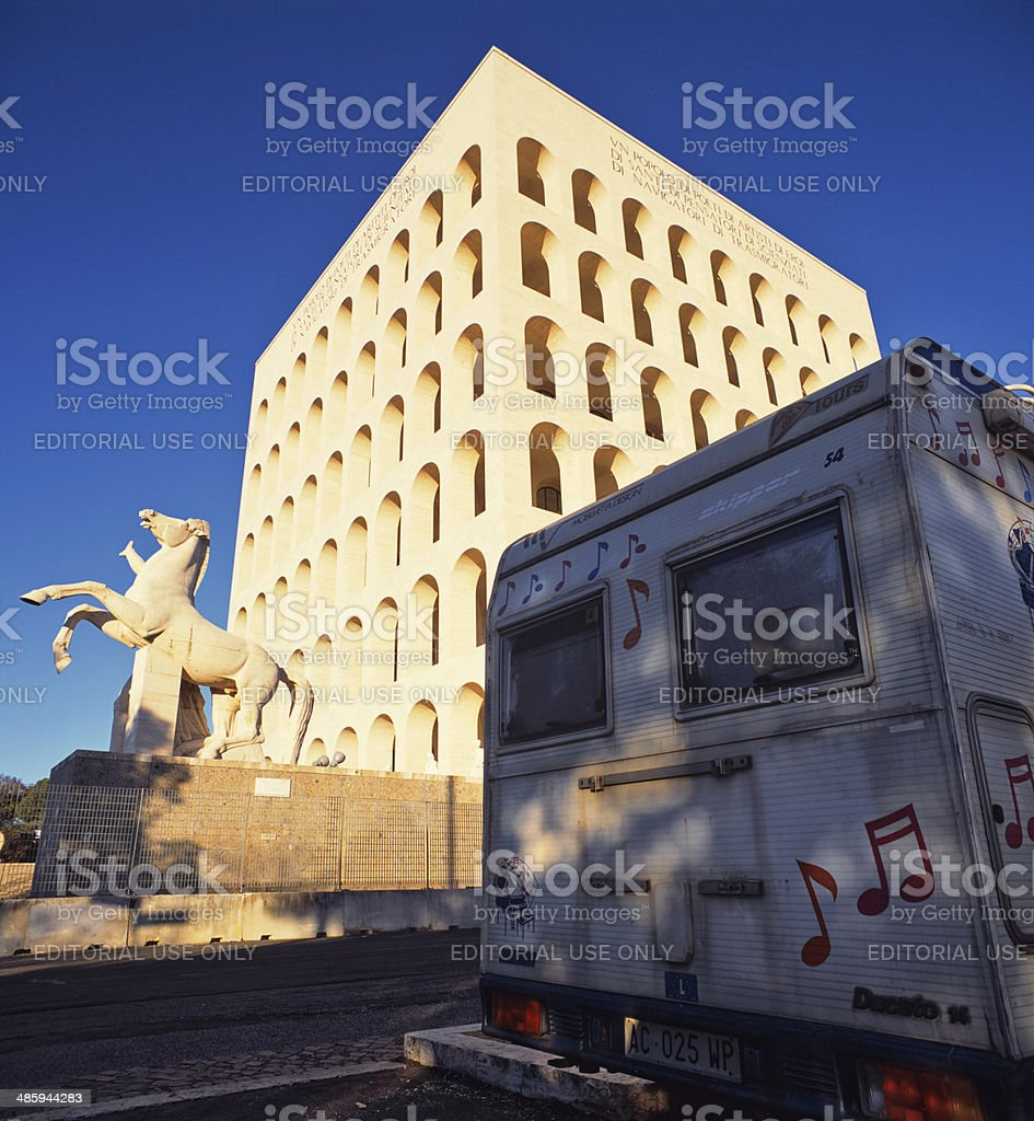 Camping in Rome with a motorhome royalty-free stock photo