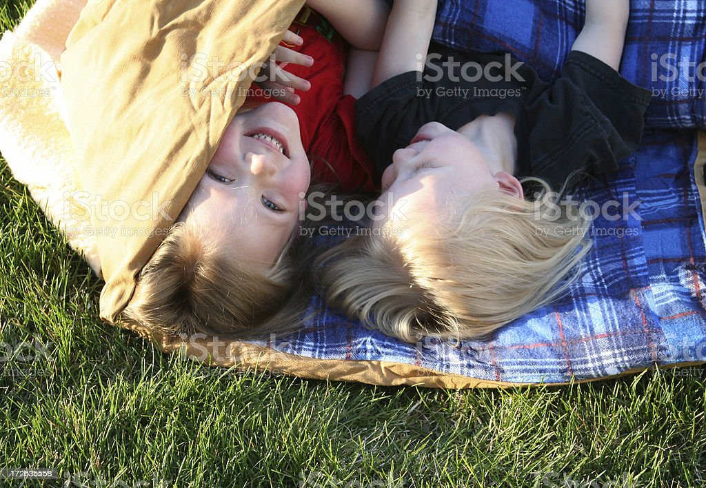 Camping in the Backyard stock photo