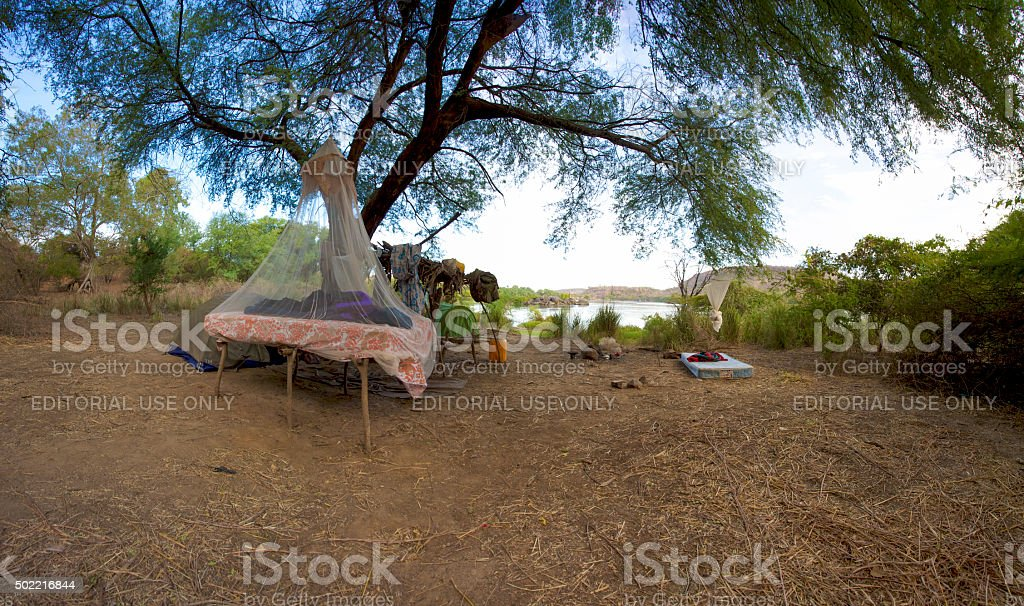 Camping in the bush stock photo