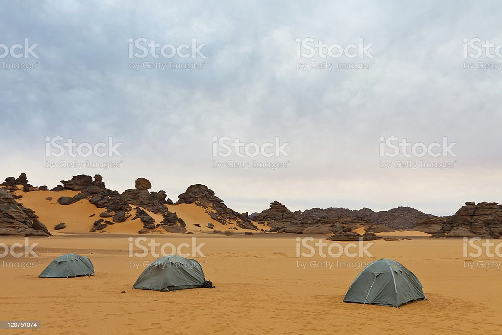 Camping in the Desert - Akakus (Acacus) Mountains, Sahara, Libya stock photo