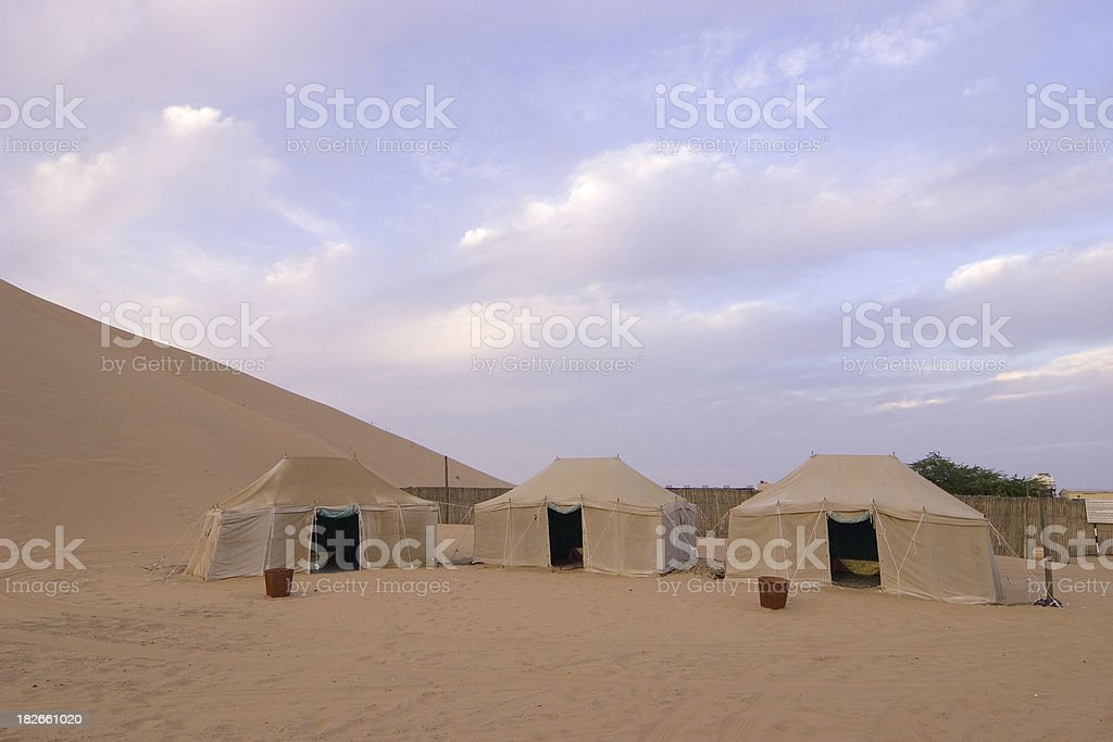 Camping in the desert stock photo