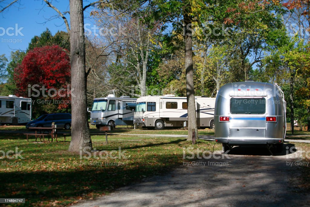 RV Camping in the Fall royalty-free stock photo