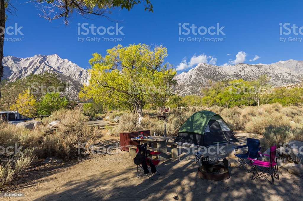 Camping in the nature, mountains, California stock photo