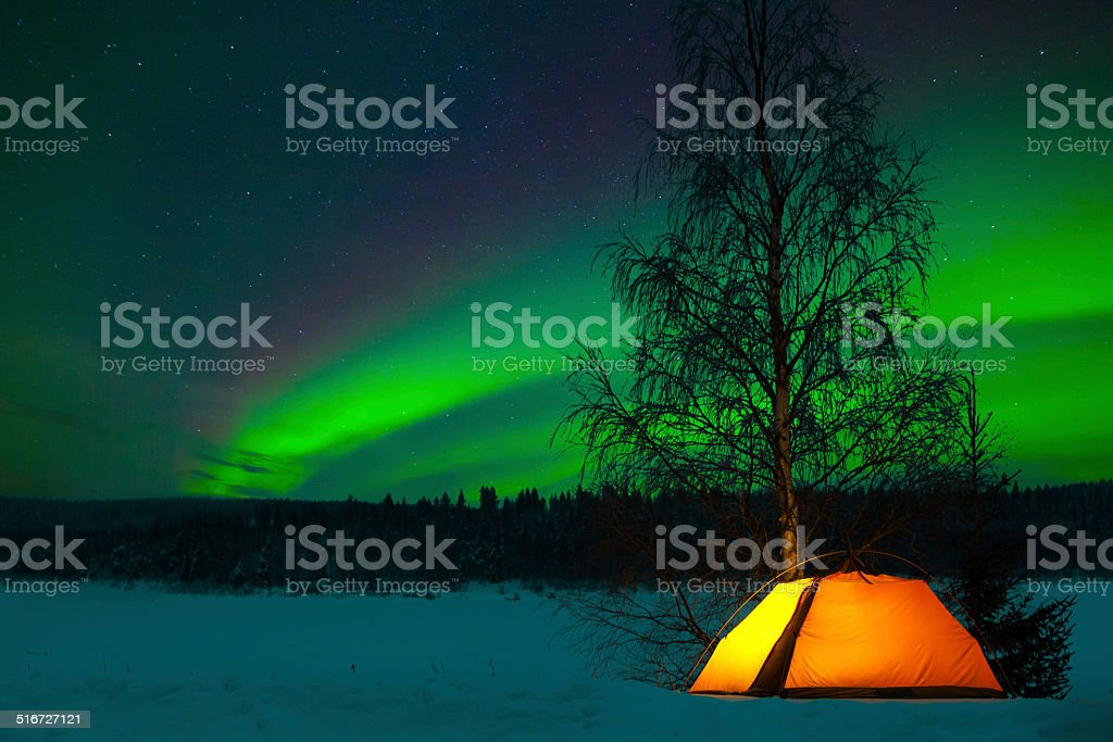 Camping in the north stock photo