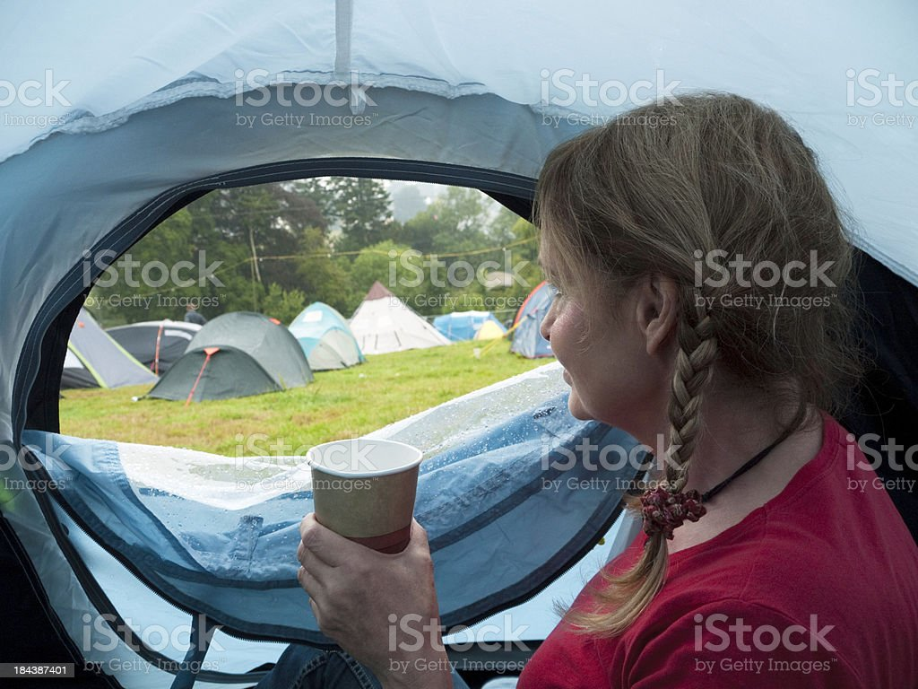 Camping in the rain stock photo