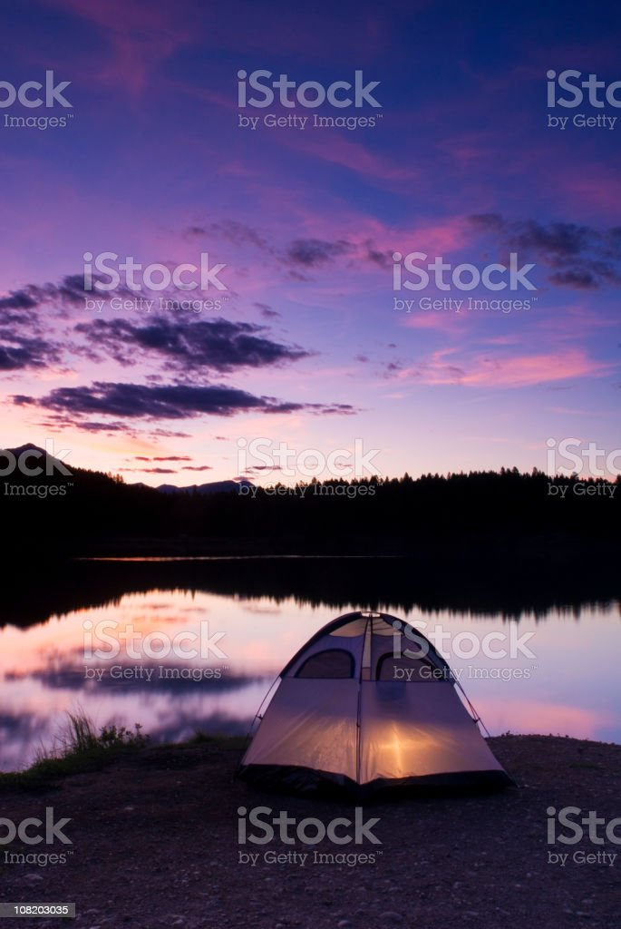 Camping in the rockies at night royalty-free stock photo