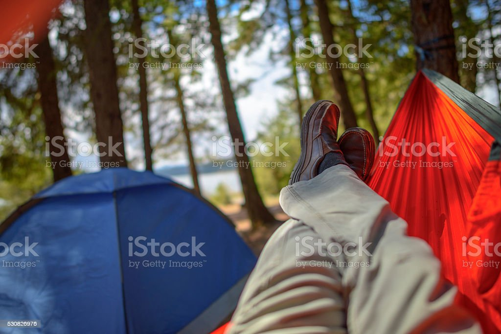 Camping in the wilderness stock photo