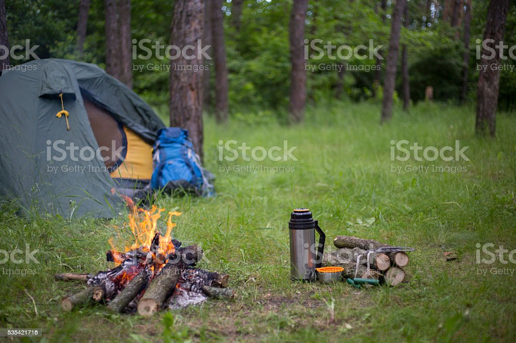 Camping in the woods. stock photo