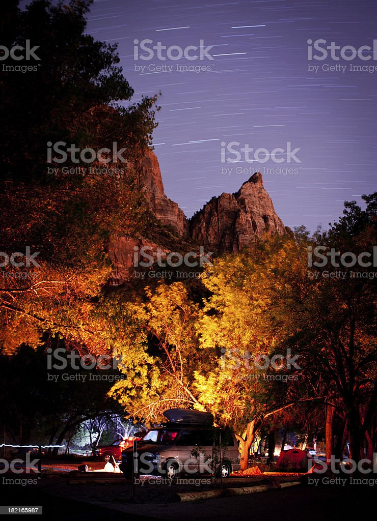 Camping in Utah with star trails overhead royalty-free stock photo