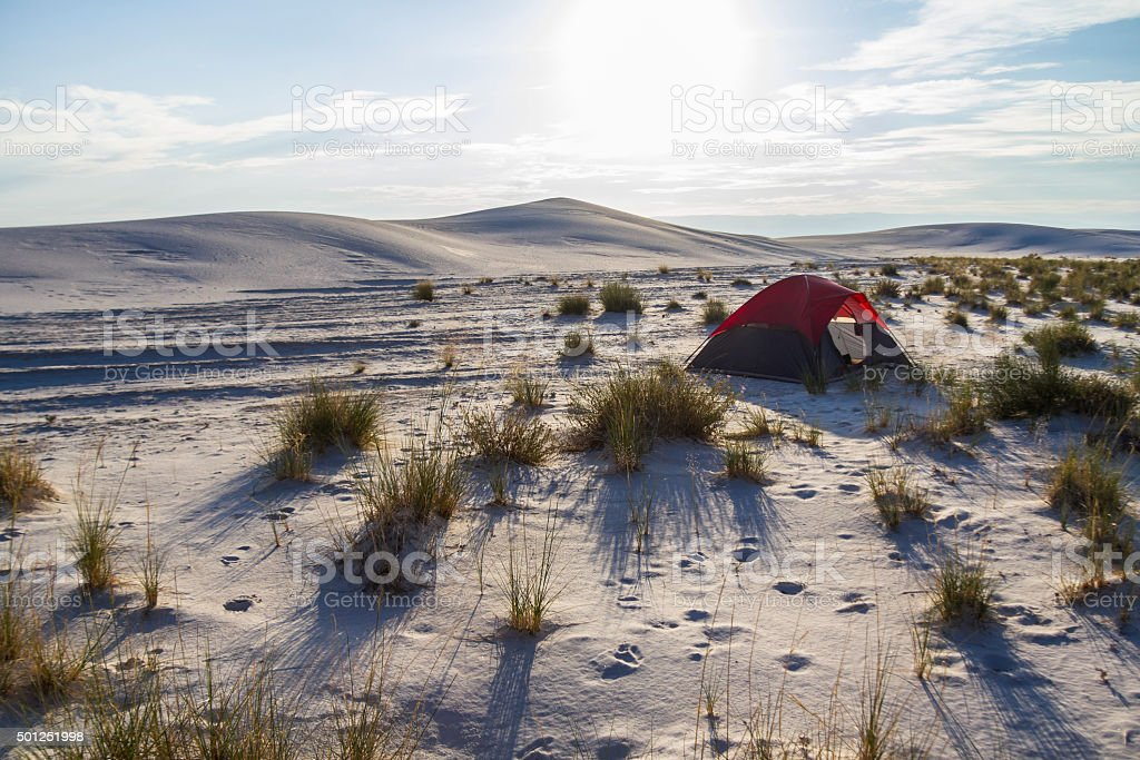 Camping inside White Sands Monument stock photo