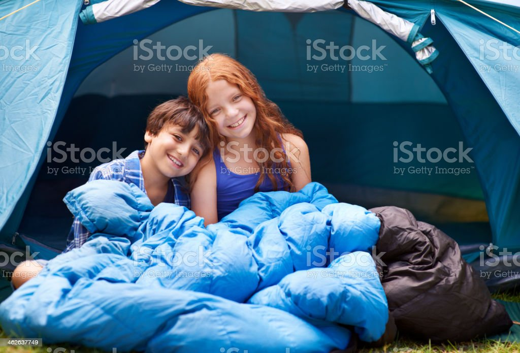 Camping is their favorite activity stock photo