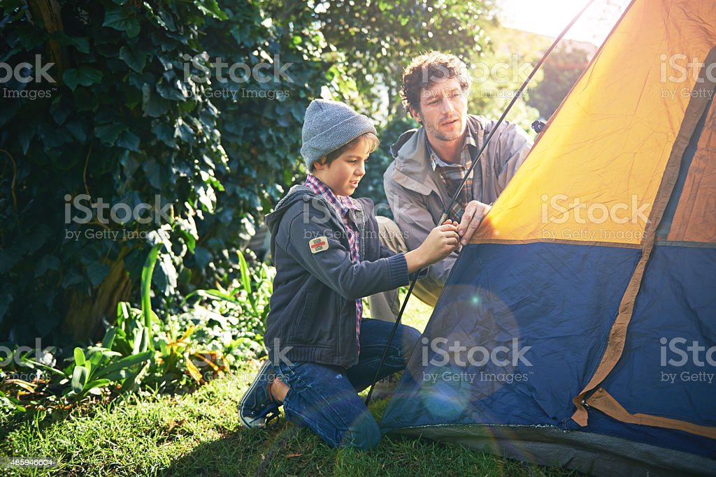 Camping is what childhood memories are made of stock photo