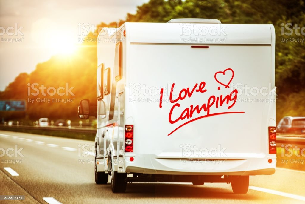 Camping Lover in the Camper stock photo