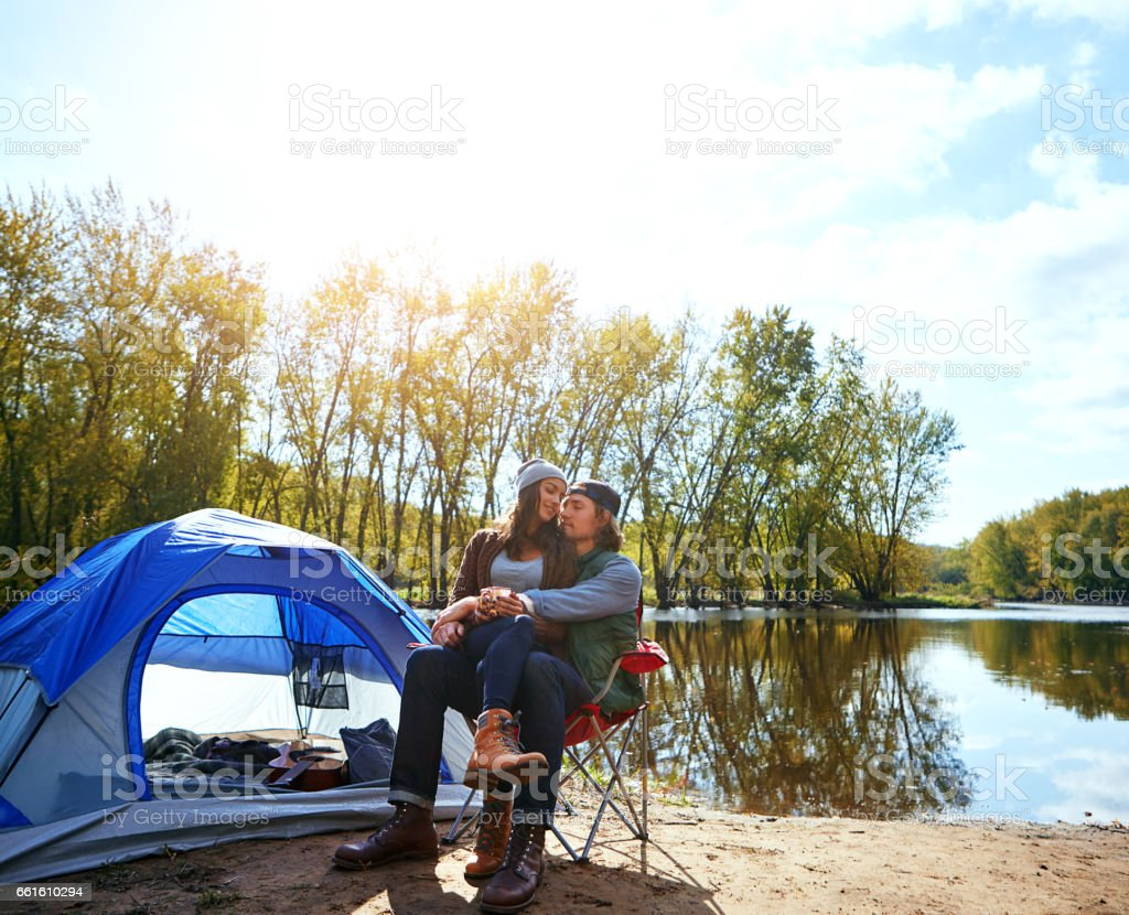 Camping made us develop a new appreciation for each other stock photo