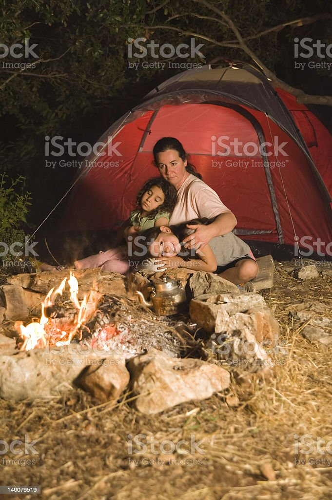 camping mother and daughters royalty-free stock photo