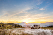 Camping Motor Home parked outdoor in the mountains