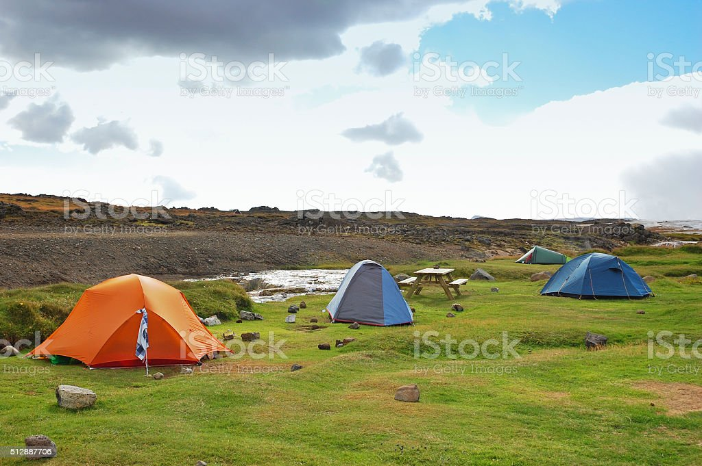 Camping near a geothermal area in Iceland stock photo