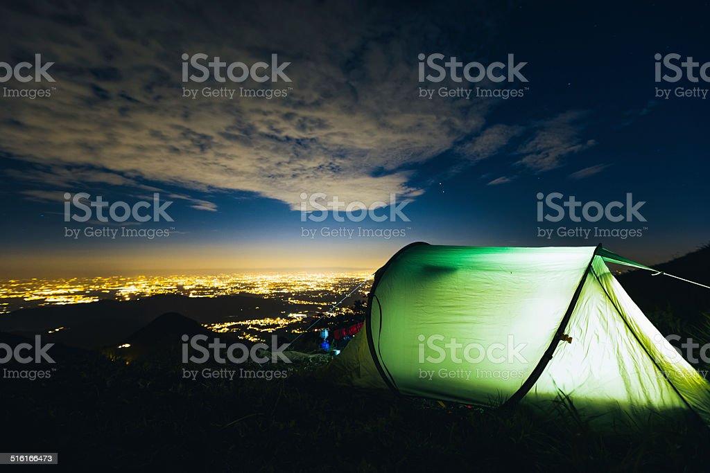 Camping night stock photo
